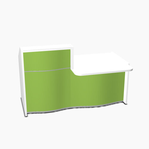 Wave Modern Design Small Straight Reception Desk White Counter Top  with Right Low Level Section &High Gloss Dark Green Front W1776xD1034xH1103mm