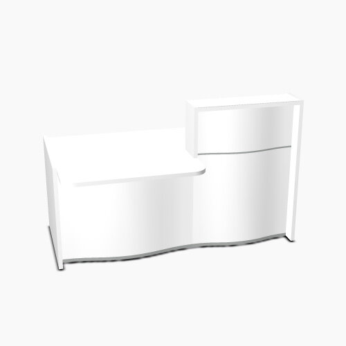 Wave Modern Design Small Straight Reception Desk White Counter Top with Left Low Level Section &High Gloss White Front W1776xD1034xH1103mm