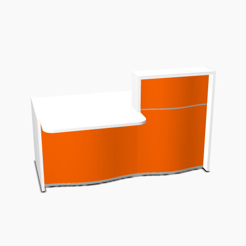 Wave Modern Design Small Straight Reception Desk White Counter Top with Left Low Level Section &High Gloss Orange Front W1776xD1034xH1103mm