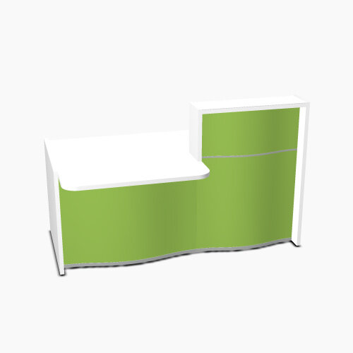 Wave Modern Design Small Straight Reception Desk White Counter Top with Left Low Level Section & High Gloss Dark Green Front W1776xD1034xH1103mm