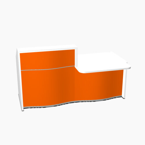 Wave Modern Design Straight Reception Desk White Counter Top with Right Low Level Section & High Gloss Orange Front W1996xD1034xH1103mm