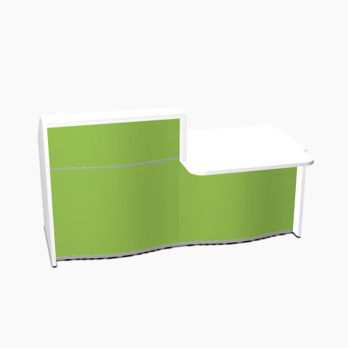 Wave Modern Design Straight Reception Desk White Counter Top with Right Low Level Section &High Gloss Dark Green Front W1996xD1034xH1103mm