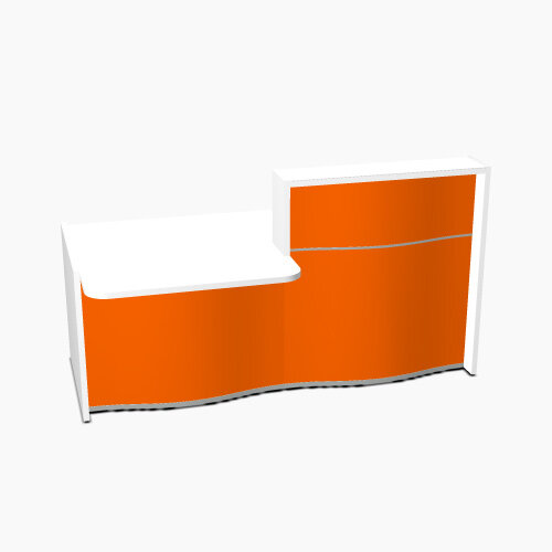 Wave Modern Design Straight Reception Desk White Counter Top with Left Low Level Section & High Gloss Orange Front W1996xD1034xH1103mm