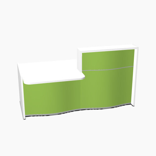 Wave Modern Design Straight Reception Desk White Counter Top with Left Low Level Section &High Gloss Dark Green Front W1996xD1034xH1103mm