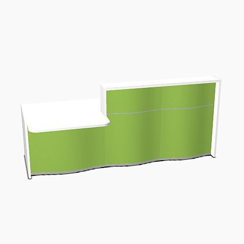 Wave Modern Design Straight Reception Desk White Counter Top with Left Low Level Section &High Gloss Dark Green Front W2526xD1034xH1103mm