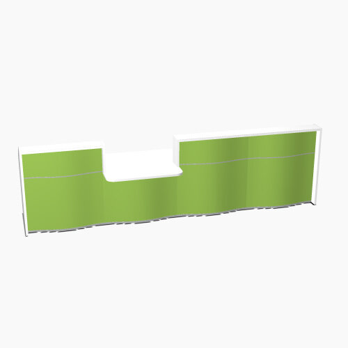 Wave Modern Design Straight Reception Desk White Counter Top with Centre Right Low Level Section &High Gloss Dark Green Front W3276xD1034xH1103mm