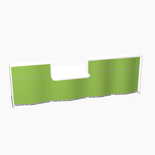 Wave Modern Design Straight Reception Desk White Counter Top with Centre Right Low Level Section &High Gloss Dark Green Front W3496xD1034xH1103mm
