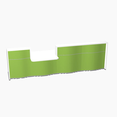 Wave Modern Design Straight Reception Desk White Counter Top with Centre Right Low Level Section &High Gloss Dark Green Front W3716xD1034xH1103mm