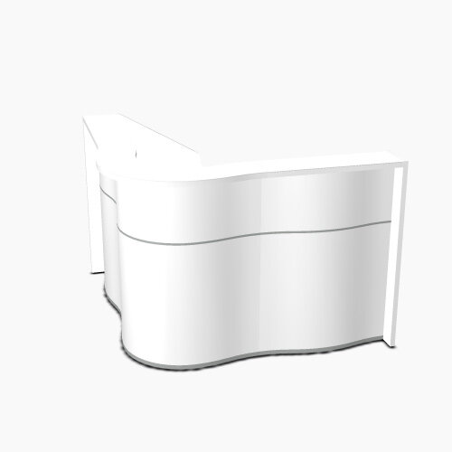 Wave Modern Design Small Curved Reception Desk with White Counter Top &High Gloss White Front W1590xD1590xH1103mm
