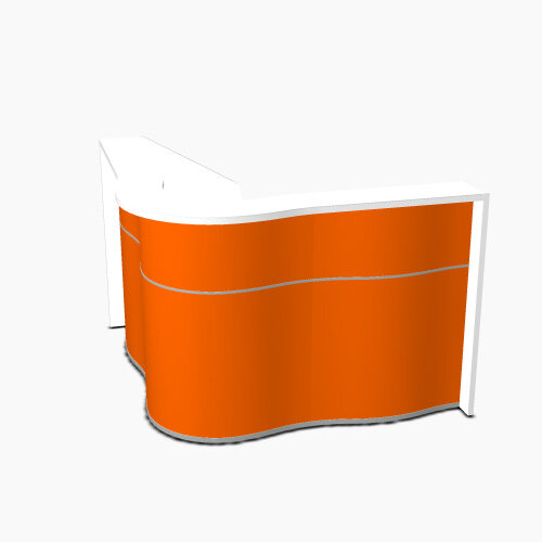 Wave Modern Design Small Curved Reception Desk with White Counter Top &High Gloss Orange Front W1590xD1590xH1103mm