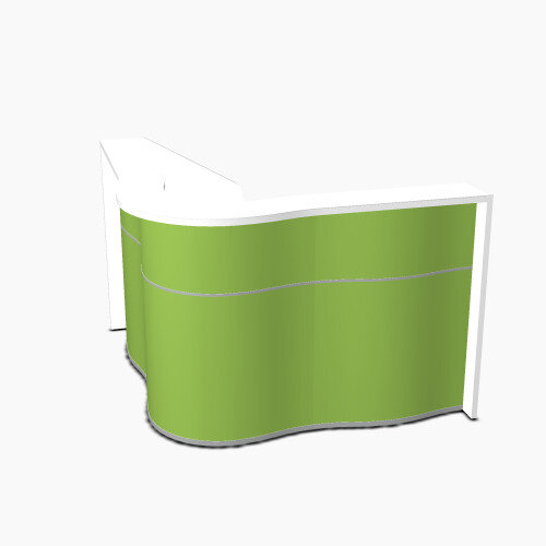 Wave Modern Design Small Curved Reception Desk with White Counter Top &High Gloss Dark Green Front W1590xD1590xH1103mm