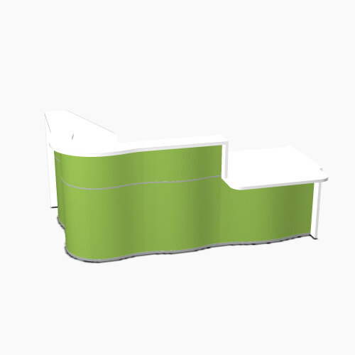 Wave Modern Design Curved Reception Desk White Counter Top with Right Low Level Section &High Gloss Dark Green Front W2560xD1605xH1103mm