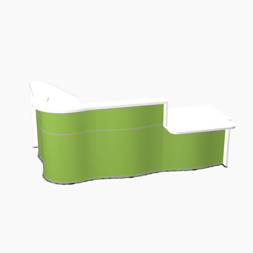 Wave Modern Design Curved Reception Desk White Counter Top with Right Low Level Section &High Gloss Dark Green Front W2780xD1807xH1103mm