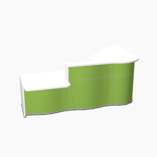 Wave Modern Design Curved Reception Desk White Counter Top with Left Low Level Section &High Gloss Dark Green Front W2780xD1807xH1103mm