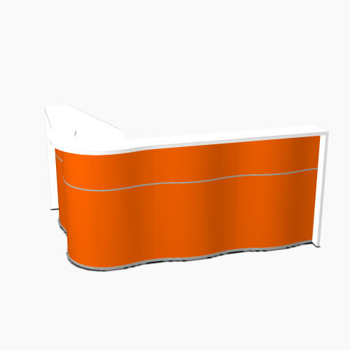 Wave Modern Design  L-Shaped Reception Desk with White Counter Top &High Gloss Orange Front W2340xD1590xH1103mm