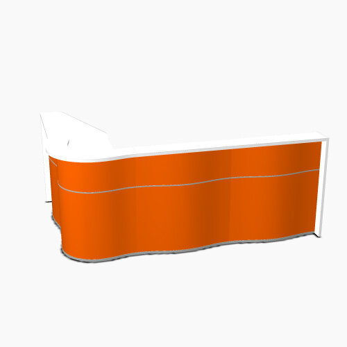 Wave Modern Design L-Shaped Reception Desk with White Counter Top &High Gloss Orange Front W2780xD1810xH1103mm
