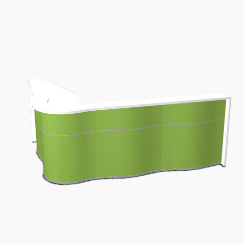 Wave Modern Design L-Shaped Reception Desk with White Counter Top &High Gloss Dark Green Front W2780xD1810xH1103mm