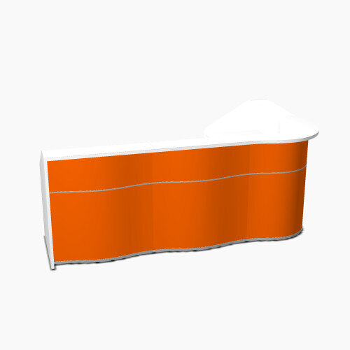 Wave Modern Design L-Shaped Reception Desk with White Counter Top &High Gloss Orange Front W2780xD1591xH1103mm