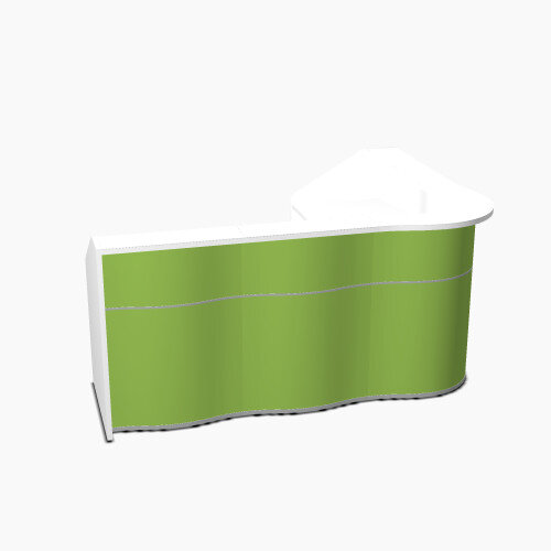 Wave Modern Design L-Shaped Reception Desk with White Counter Top &High Gloss Dark Green Front W2343xD1813xH1103mm