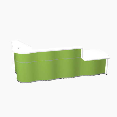 Wave Modern Design L-Shaped Reception Desk White Counter Top with Right Low Level Section &High Gloss Dark Green Front W3310xD1807xH1103mm