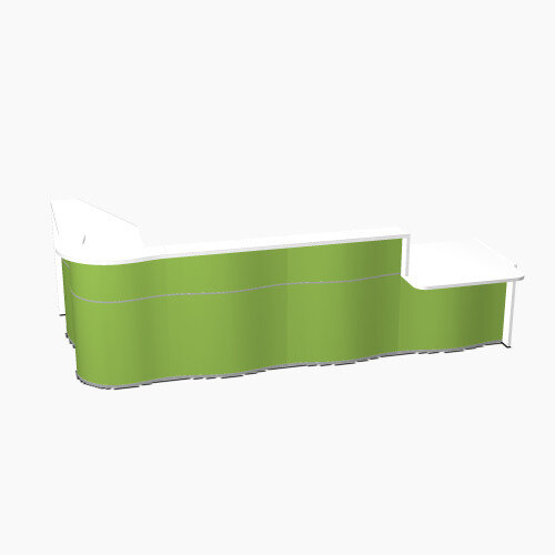 Wave Modern Design L-Shaped Reception Desk White Counter Top with Right Low Level Section &High Gloss Dark Green Front W3750xD1825xH1103mm