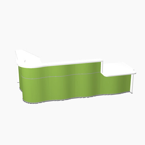 Wave Modern Design L-Shaped Reception Desk White Counter Top with Right Low Level Section Top &High Gloss Dark Green Front W3310xD1825xH1103mm