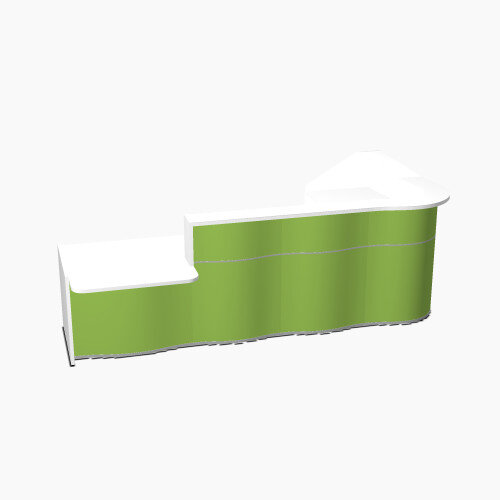 Wave Modern Design L-Shaped Reception Desk White Counter Top with Left Low Level Section Top &High Gloss Dark Green Front W3310xD1825xH1103mm