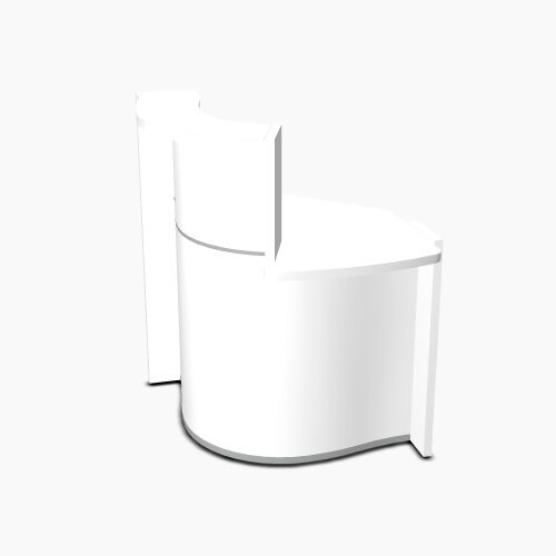 Wave Modern Design Small Curved Reception Desk White Counter Top with Left Low Level Section &High Gloss White Front W858xD925xH1103mm