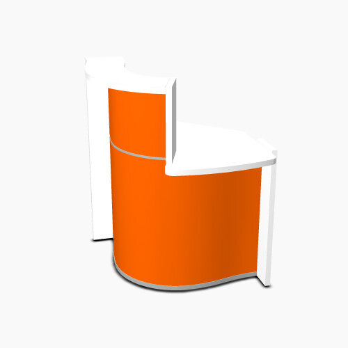 Wave Modern Design Small Curved Reception Desk White Counter Top with Left Low Level Section &High Gloss Orange Front W858xD925xH1103mm