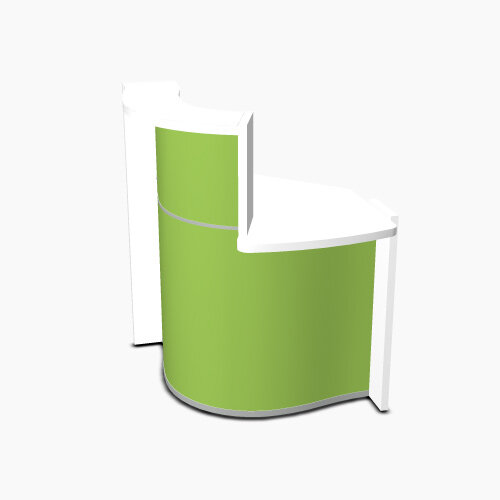 Wave Modern Design Small Curved Reception Desk White Counter Top with Left Low Level Section & High Gloss Dark Green Front W858xD925xH1103mm