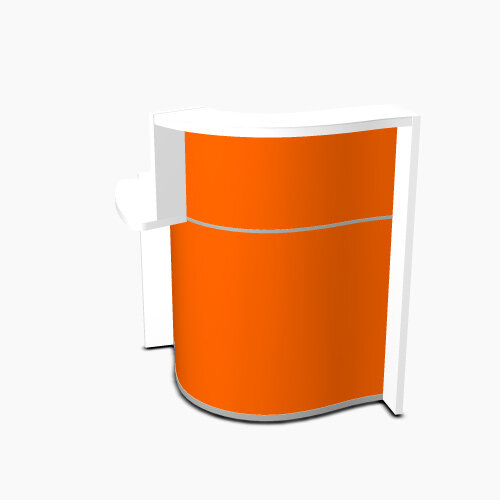 Wave Modern Design Small Curved Reception Desk White Counter Top with Right Low Level Section & High Gloss Orange Front W858xD925xH1103mm
