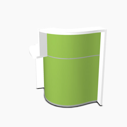 Wave Modern Design Small Curved Reception Desk White Counter Top with Right Low Level Section & High Gloss Dark Green Front W858xD925xH1103mm