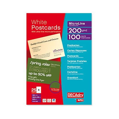 Decadry Postcards A4 Micro-perforated Sheet White (100 Pack)