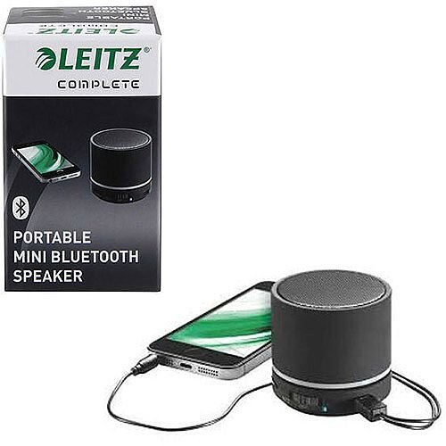 Leitz Black Complete Portable Mini Bluetooth Speaker – Portable, Bluetooth 4.0, 10M Range, Wired and Wireless, 400 mAh, 6-Hour Battery Life &Integrated MP3 Player (63580095)