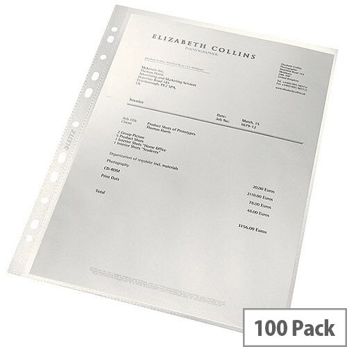 Leitz ReCycle Punched Pockets 90 Micron Pack of 100 4791-10-03