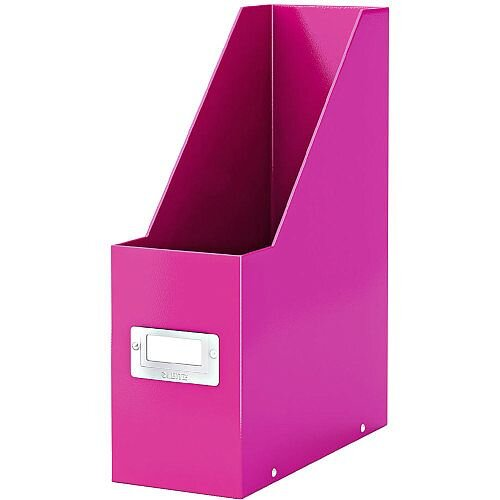 Leitz Click & Store Magazine File Pink (Dimensions: W103 x D253 x H330mm; 103mm spine whitch is laminiated for lasting use; Back and front label holder for easy indexing) 60470023