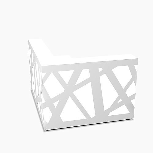 Zig Zag Modern Design Illuminated Solid Surface Small L-Shaped White Reception Desk W1600mmxD1880mmxH1146mm