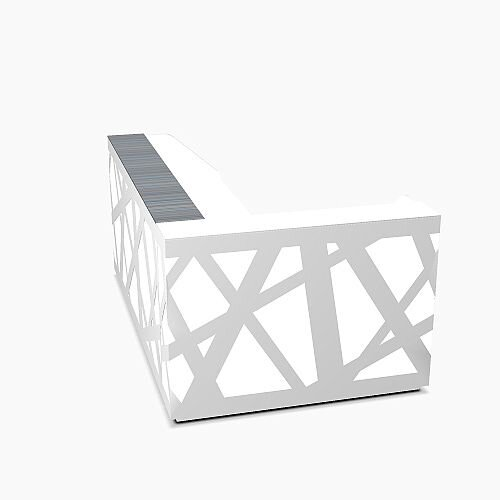 Zig Zag Modern Design Illuminated Solid Surface L-Shaped White Reception Desk W2480mmxD1600mmxH1146mm