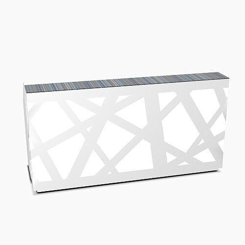 Zig Zag Modern Design Illuminated Solid Surface Straight White Reception Desk W2200mmxD880mmxH1146mm
