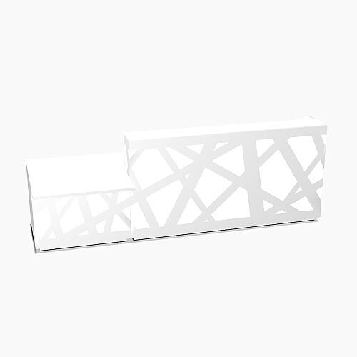 Zig Zag Modern Design Illuminated Solid Surface Straight White Reception Desk with Right Low Level Section W3200mmxD1180mmxH1146mm