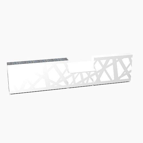 Zig Zag Modern Design Illuminated Solid Surface Straight White Reception Desk with Central Low Level Section W4800mmxD1180mmxH1146mm