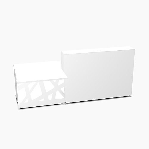 Zig Zag Modern Design Solid Surface Straight White Reception Desk with Right Low Level Section W2600mmxD1180mmxH1146mm