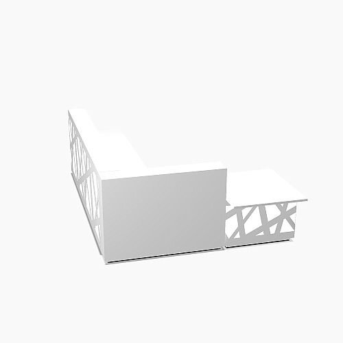 Zig Zag Modern Design Illuminated Solid Surface L-Shaped White Reception Desk with Left Low Level Section W3808mmxD2880mmxH1146mm