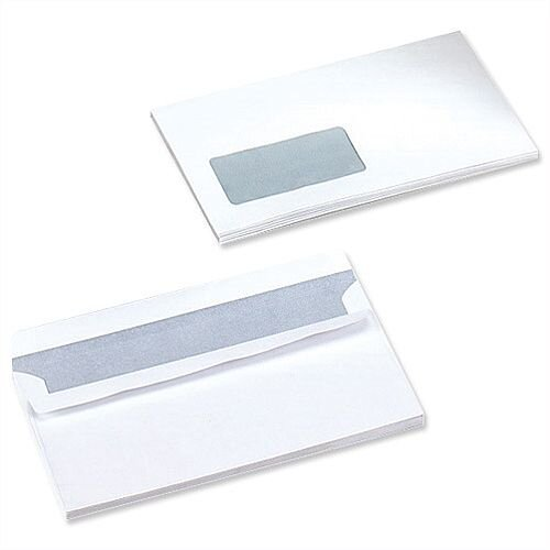 Opportunity White DL Envelopes Light Weight Window 110x220mm Self Seal 1000