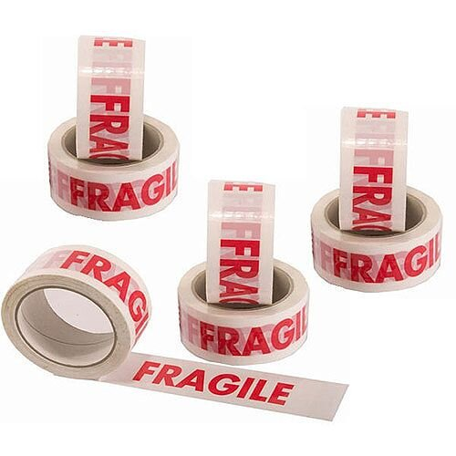 Ambassador Vinyl Tape Printed Fragile White/Red 50mm x66 Metres