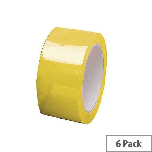Yellow Polypropylene Packing Tape 50mm x 66m Pack of 6