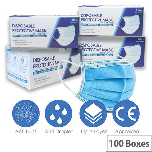 Disposable 3 Ply Protective Mask With Ear Loop 100 Boxes of 50 Masks Ref:MASK-100