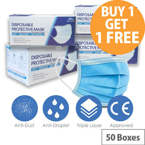 Disposable 3 Ply Protective Mask With Ear Loop 50 Boxes of 50 Masks Ref:MASK-50