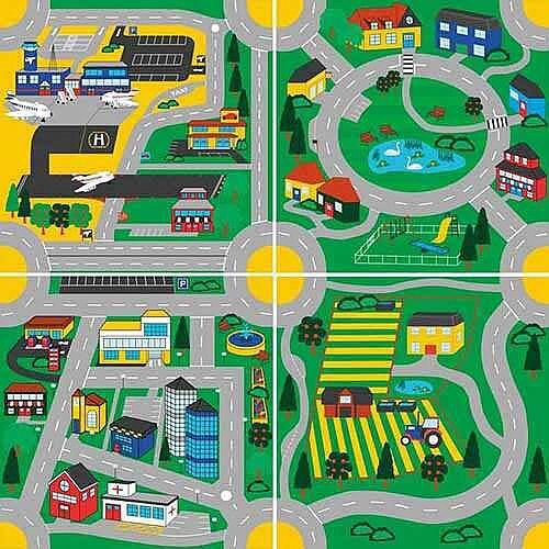 Town &Country Road - Children's Roads Carpets Pack of 4