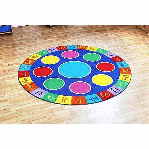 NEW Rainbow ABC Circular Carpet Heavy Duty Tuf-Pile™ 2x2m